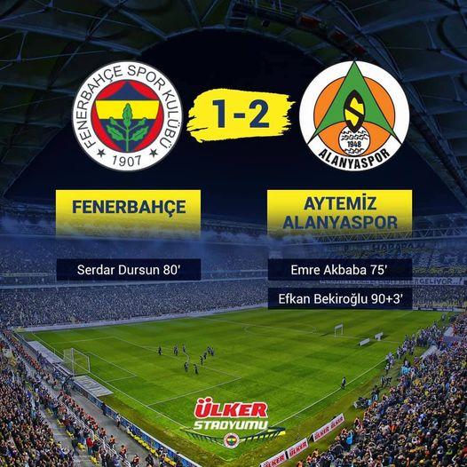 Fenerbahçe Kendi Sahasında Alanyaspor'a  Yenildi (2-1)